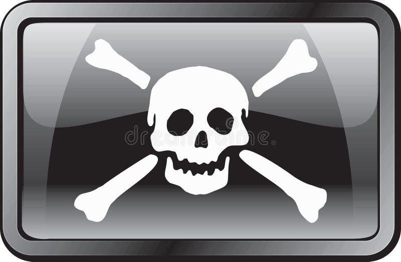 Ícone da bandeira de pirata ilustração do vetor