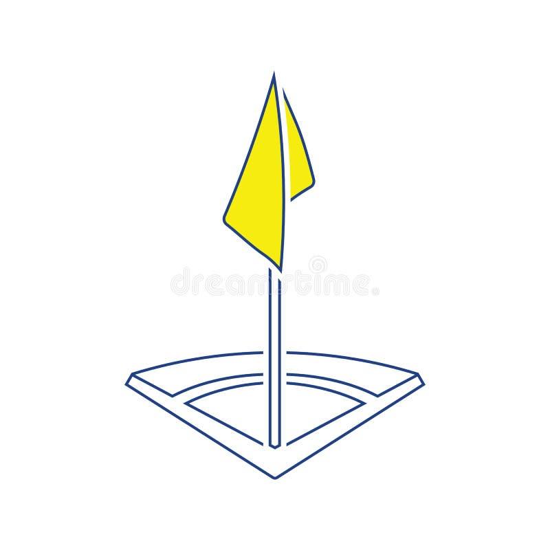 Ícone da bandeira do canto do campo de futebol ilustração do vetor