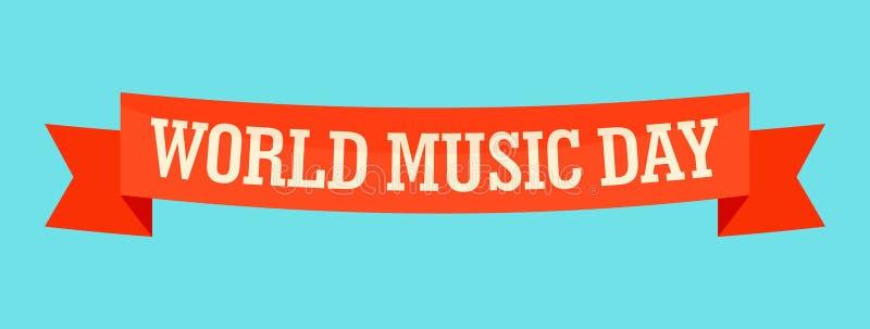 Ícone da bandeira do dia da música do mundo, estilo liso ilustração royalty free