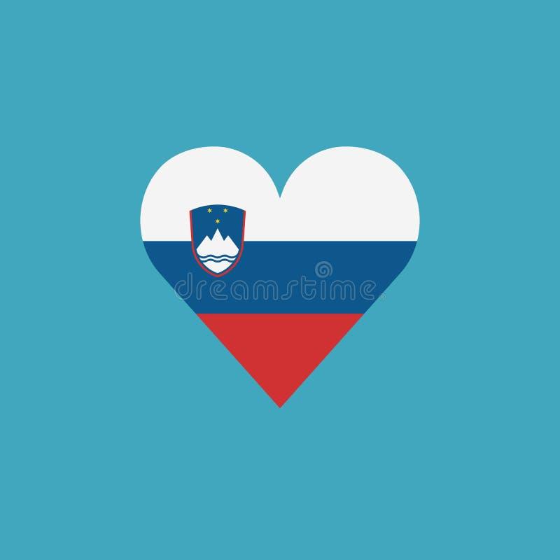 Ícone da bandeira do Eslovênia em uma forma do coração no projeto liso ilustração do vetor