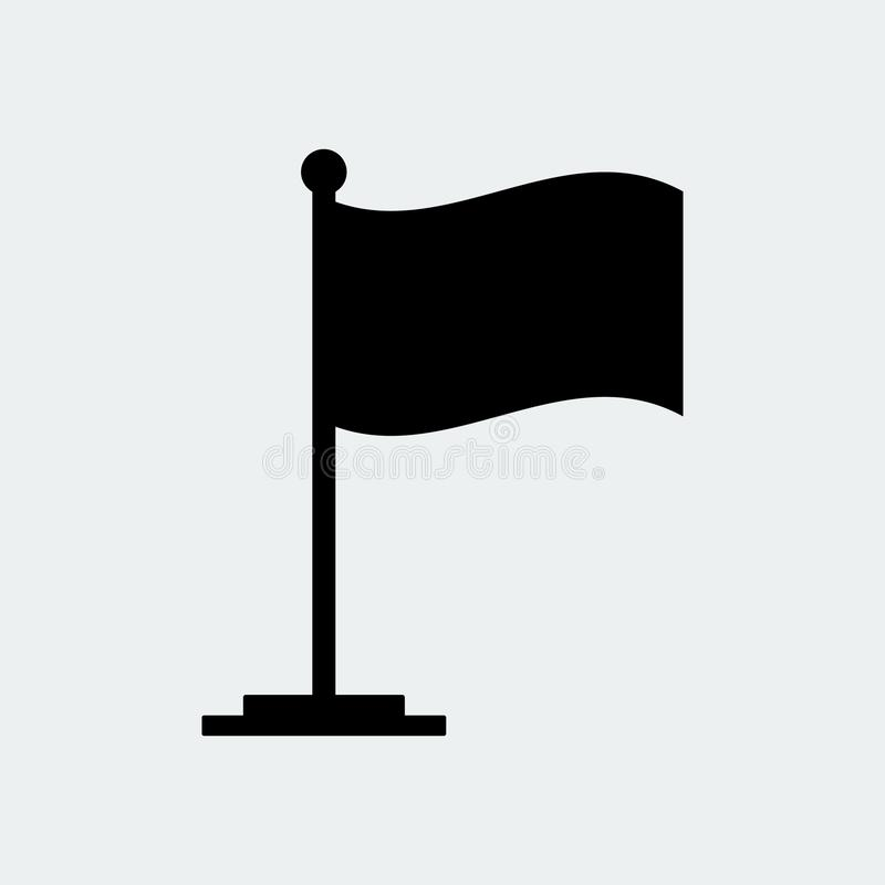 Ícone da bandeira negra Suporte da bandeira Ilustração do vetor ilustração do vetor