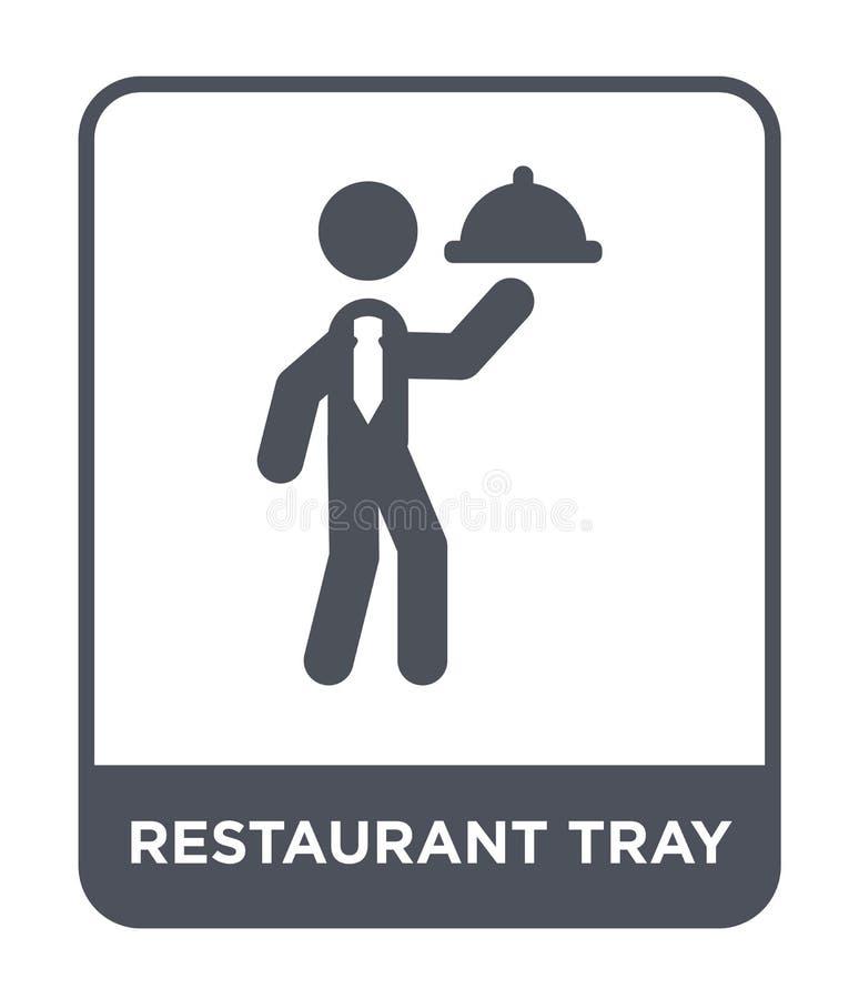ícone da bandeja do restaurante no estilo na moda do projeto ícone da bandeja do restaurante isolado no fundo branco ícone do vet ilustração royalty free