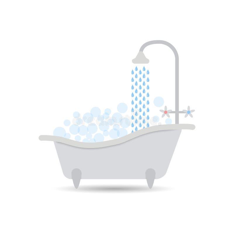 Ícone da banheira com água de fluxo e enchido com a espuma com bolhas Vetor do banho isolado em um fundo claro ilustração royalty free