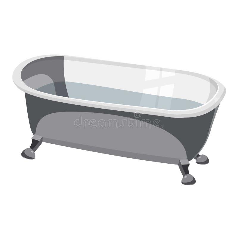 Ícone da banheira, estilo dos desenhos animados ilustração stock
