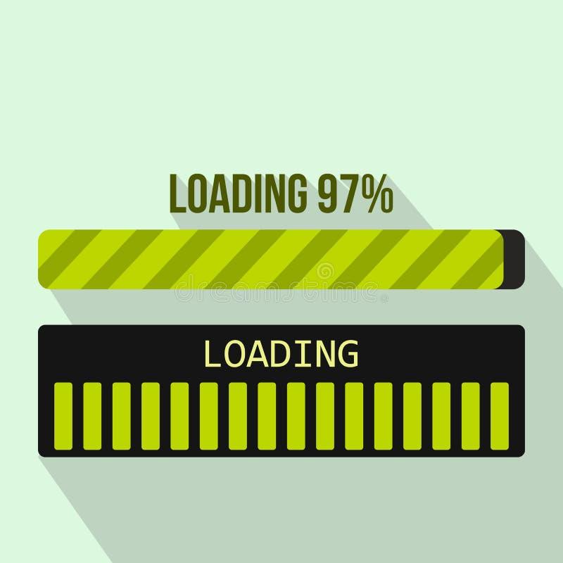 Ícone da barra de carga do progresso, estilo liso ilustração do vetor