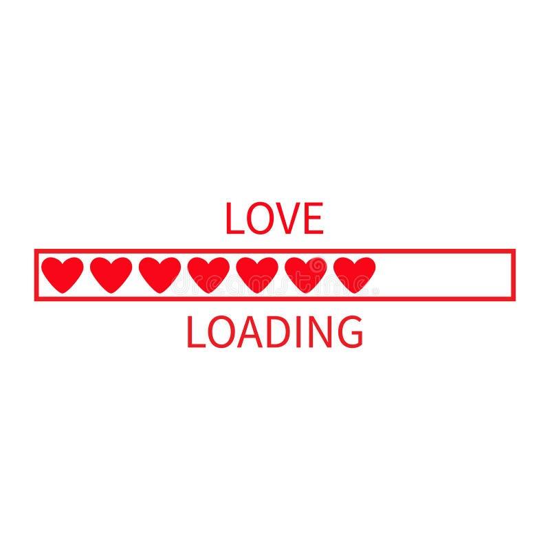 Ícone da barra de estado do progresso Coleção da carga do amor Coração vermelho Elemento feliz engraçado do dia de Valentim Tempo ilustração stock