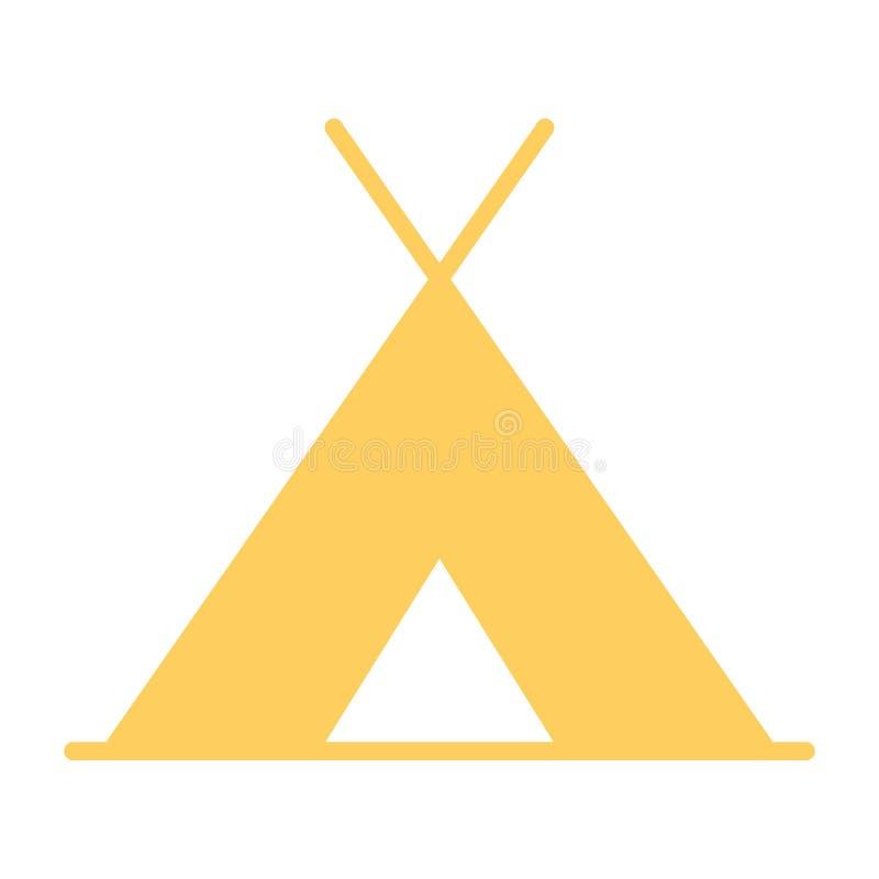 Ícone da barraca do turista Pictograma 96x96 mínimo simples do vetor ilustração stock