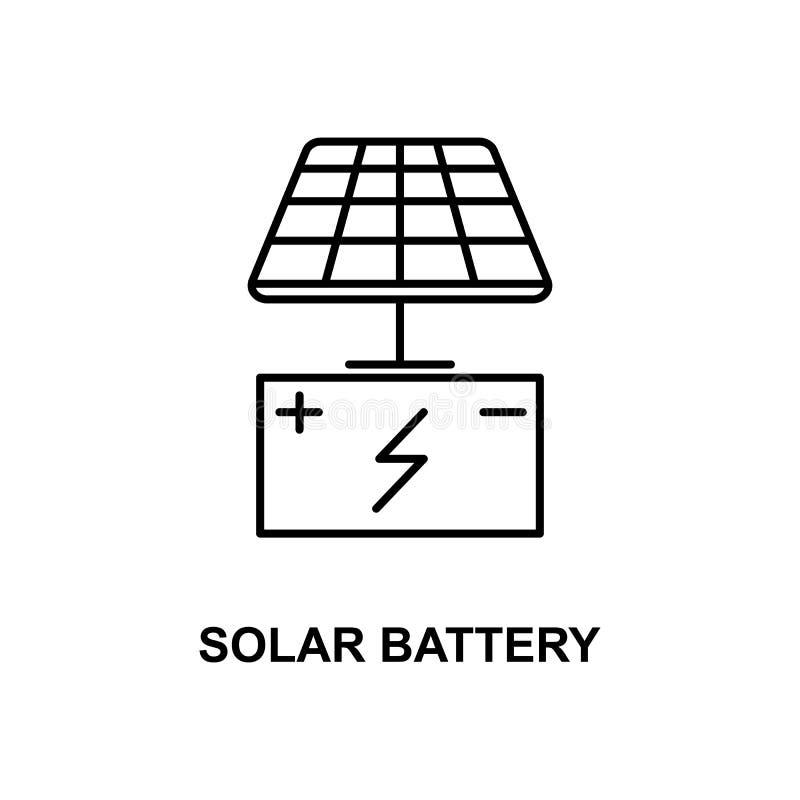 Ícone da bateria solar Elemento do ícone das tecnologias com nome para apps móveis do conceito e da Web A linha fina ícone da bat ilustração do vetor