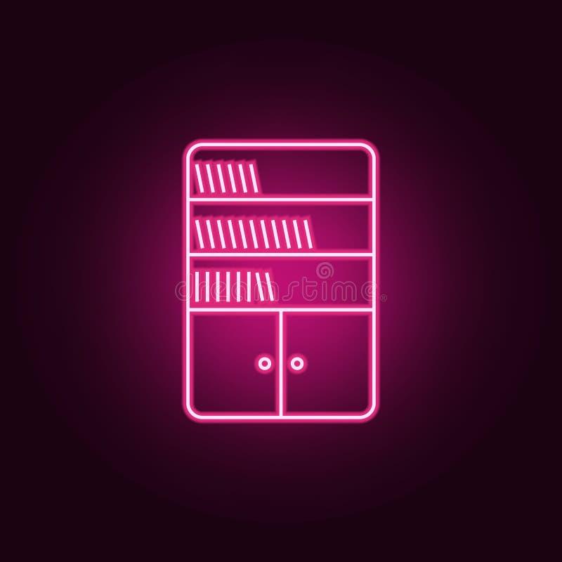 ícone da biblioteca Elementos dos livros e dos compartimentos nos ícones de néon do estilo Ícone simples para Web site, design we ilustração royalty free