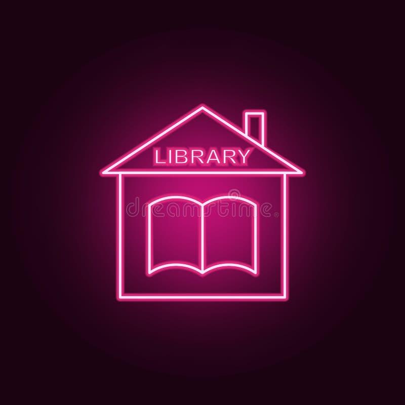 Ícone da biblioteca Elementos dos livros e dos compartimentos nos ícones de néon do estilo Ícone simples para Web site, design we ilustração do vetor