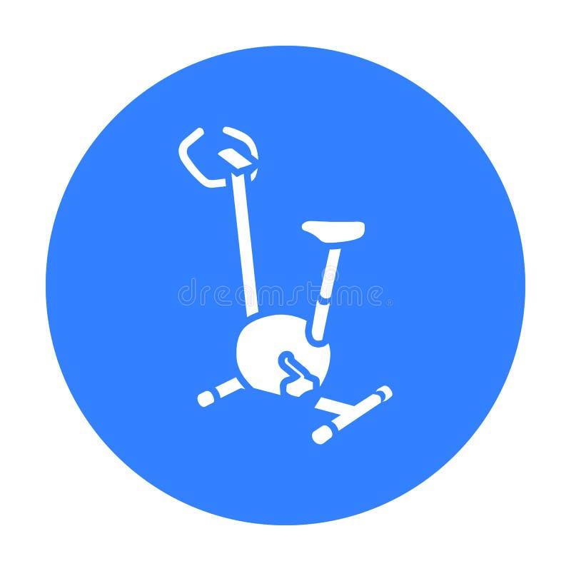 Ícone da bicicleta de exercício Único ícone da aptidão grande, saudável, exercício do esporte ilustração stock