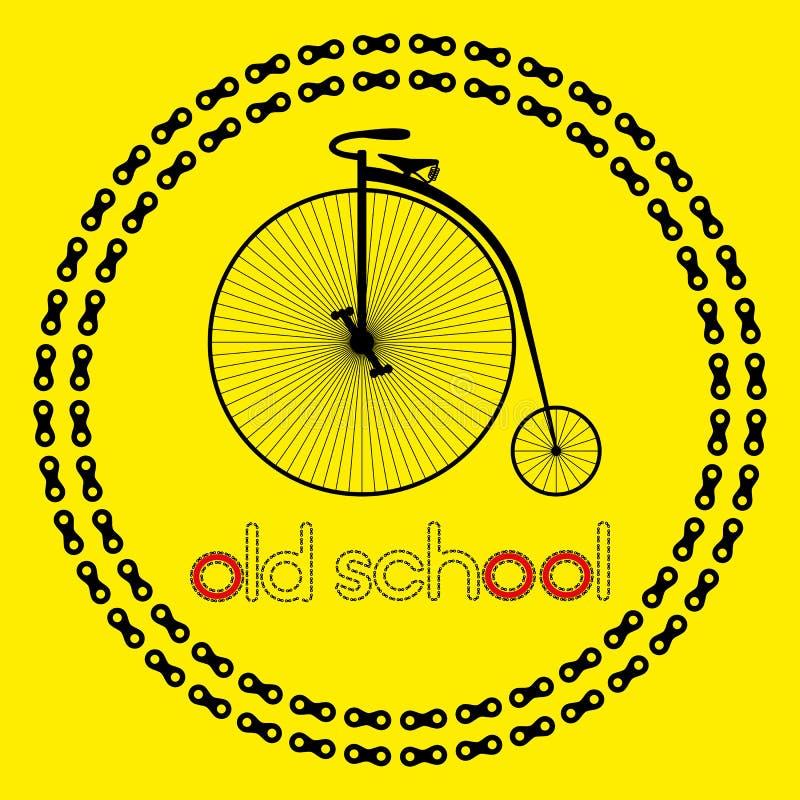Ícone da bicicleta farting da moeda de um centavo (logotipo ou etiqueta) com velha escola do texto ilustração stock