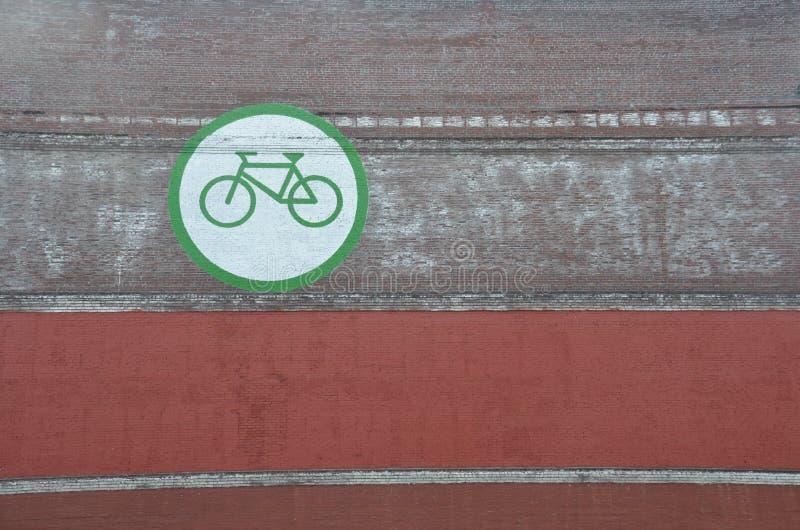 Ícone da bicicleta na parede em Portland, Oregon fotografia de stock royalty free