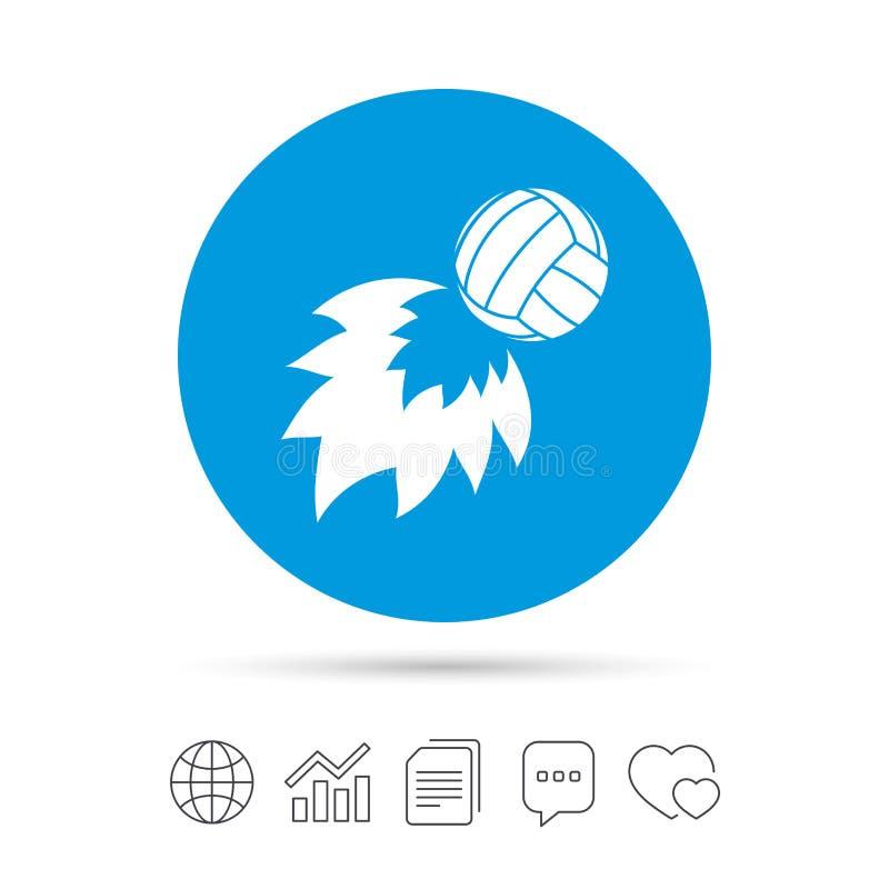 Ícone da bola de fogo do voleibol Símbolo do esporte da praia ilustração stock