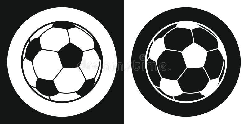 Ícone da bola de futebol Bola de futebol da silhueta em um fundo preto e branco Equipamento de esportes Ilustração do vetor ilustração royalty free