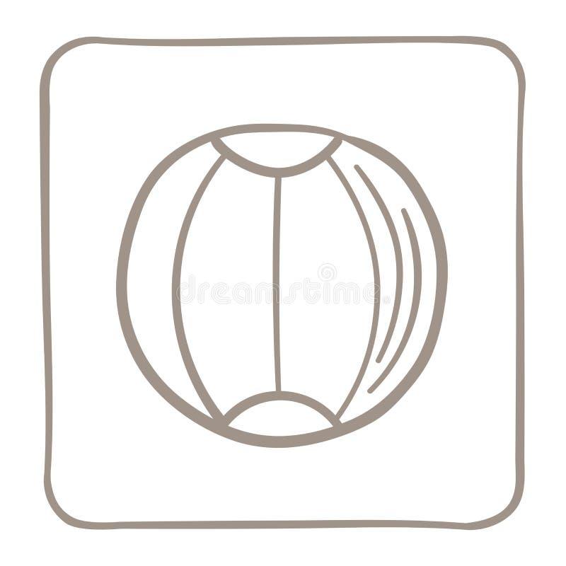 Ícone da bola de praia em um claro - quadro marrom Gráficos de vetor ilustração royalty free