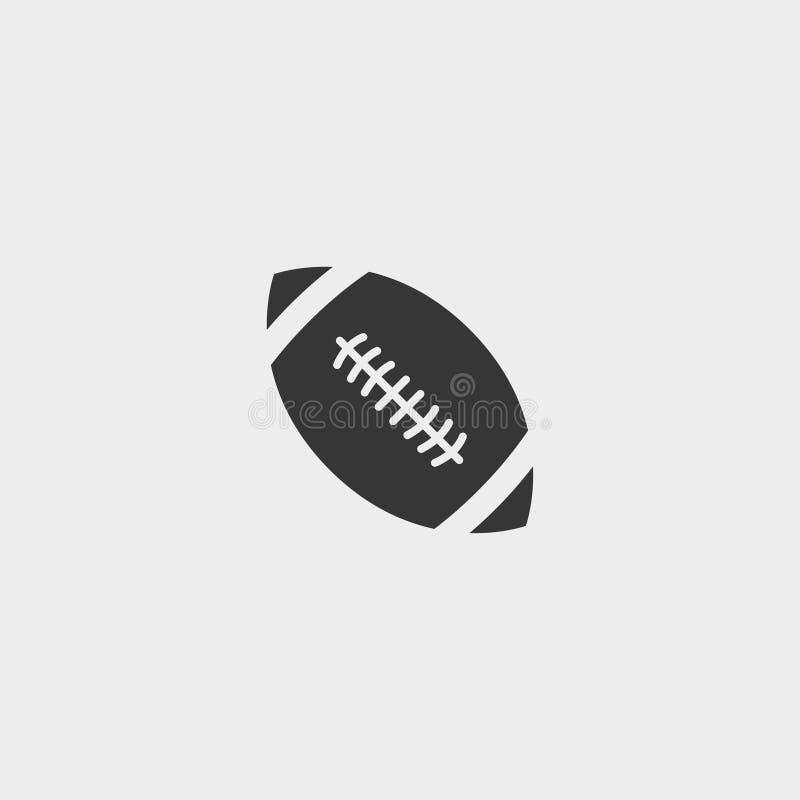 Ícone da bola de rugby em um projeto liso na cor preta Ilustração EPS10 do vetor ilustração stock