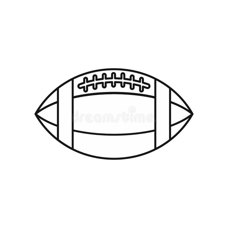 Ícone da bola de rugby, estilo do esboço ilustração stock