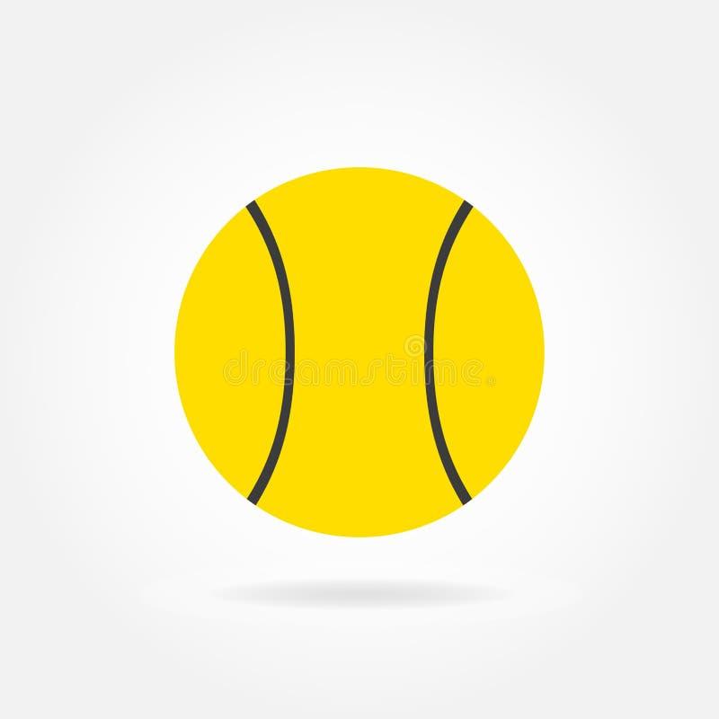 Ícone da bola de tênis no estilo liso isolado no fundo branco Ilustração do vetor ilustração do vetor