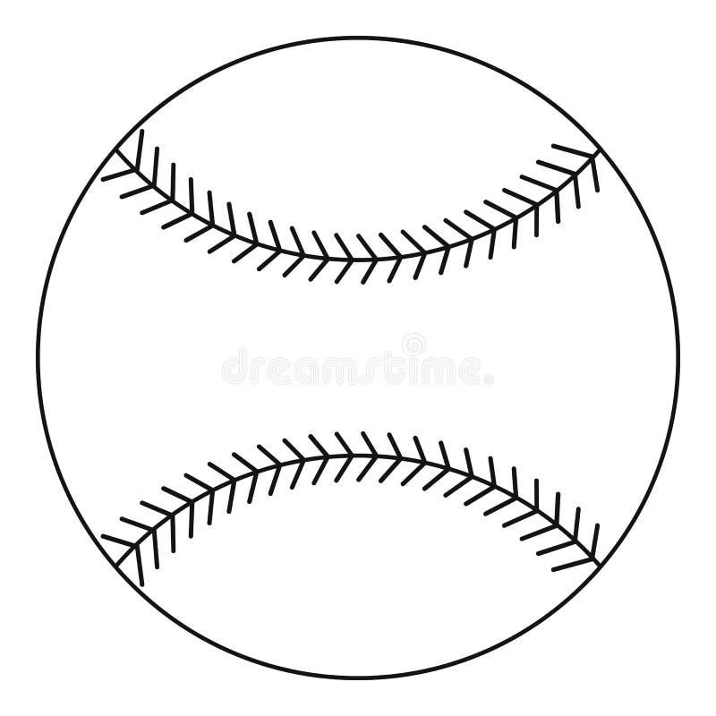 Ícone da bola do basebol, estilo do esboço ilustração do vetor