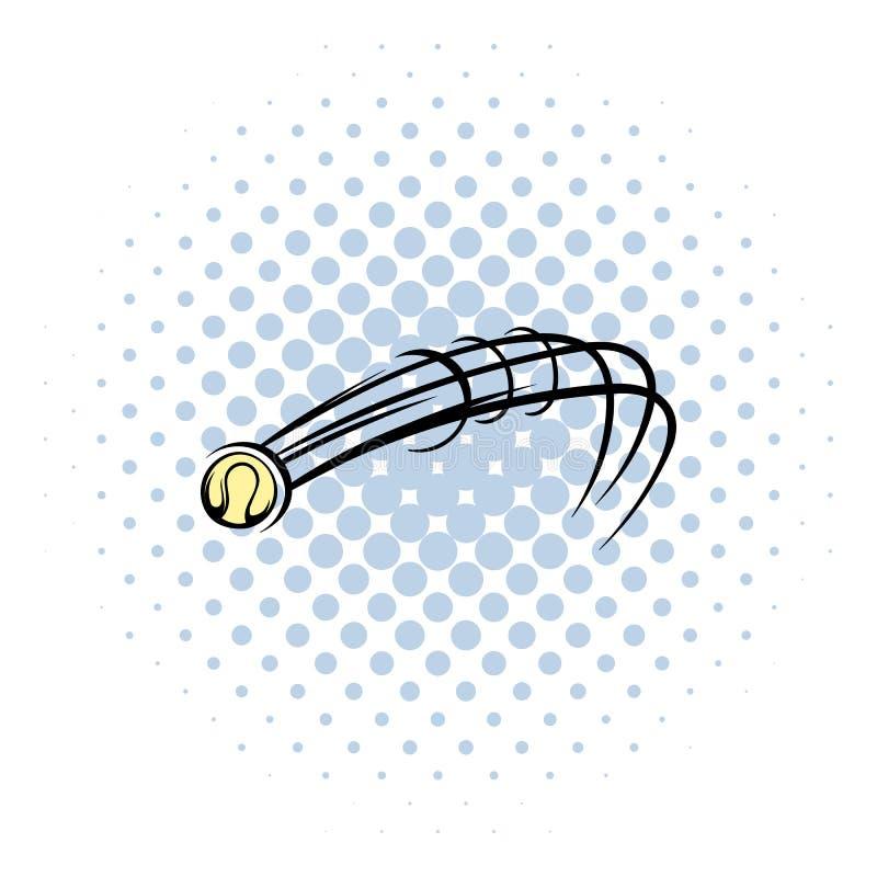 Ícone da bola do basebol do voo, estilo da banda desenhada ilustração royalty free