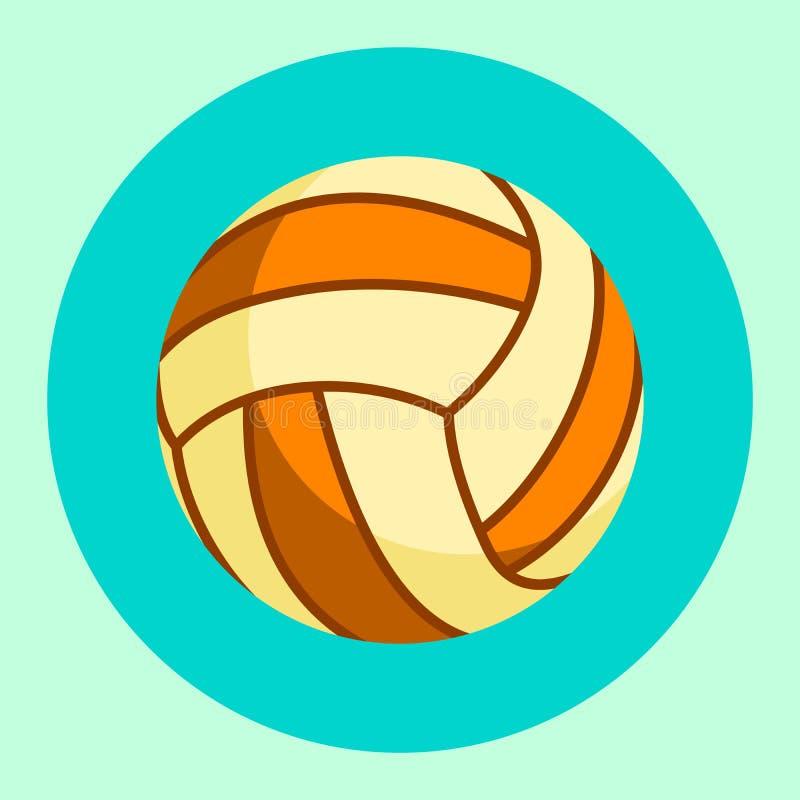 Ícone da bola do voleibol Bola colorida do voleibol em um fundo de turquesa Equipamento de esportes Ilustração do vetor ilustração stock