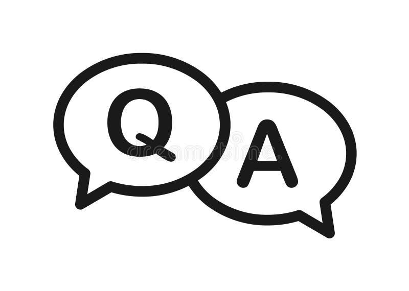 Ícone da bolha da pergunta e resposta ilustração royalty free