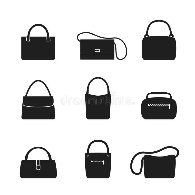 Ícone da bolsa Um grupo de ícones do saco da mulher ao estilo do projeto liso ilustração stock