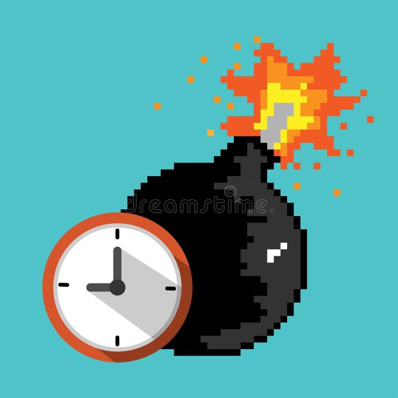 Ícone da bomba-relógio Fim do prazo, conceito do perigo da explosão ilustração royalty free