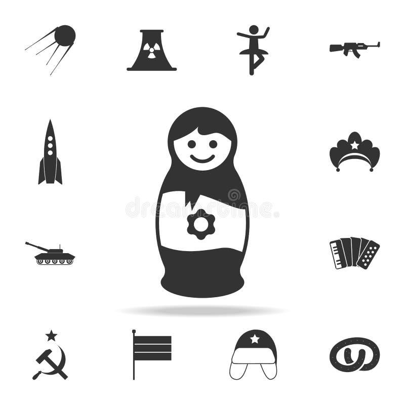 ícone da boneca do assentamento Grupo detalhado de ícones da cultura de russo Projeto gráfico superior Um dos ícones da coleção p ilustração royalty free