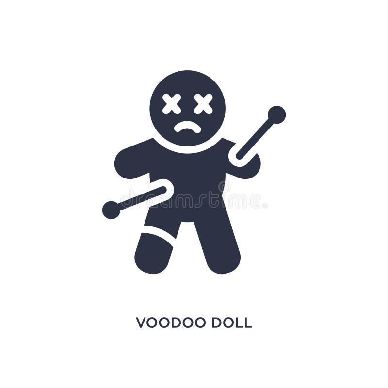ícone da boneca do vudu no fundo branco Ilustração simples do elemento do conceito mágico ilustração royalty free