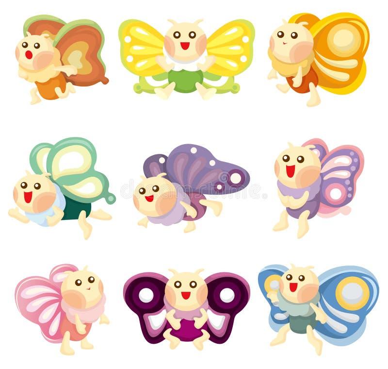 Ícone da borboleta dos desenhos animados ilustração stock