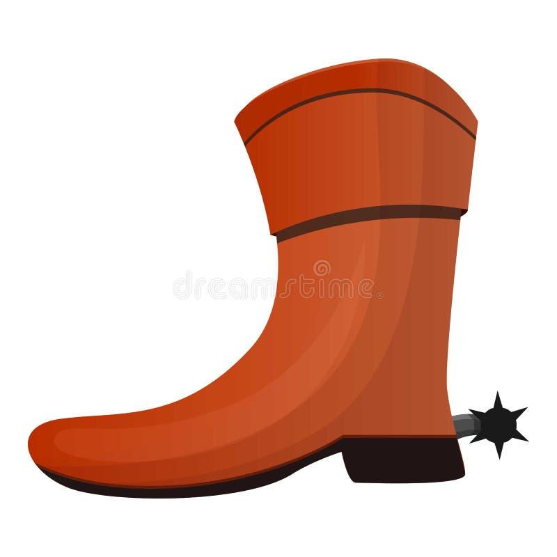 Ícone da bota de vaqueiro, estilo dos desenhos animados ilustração royalty free