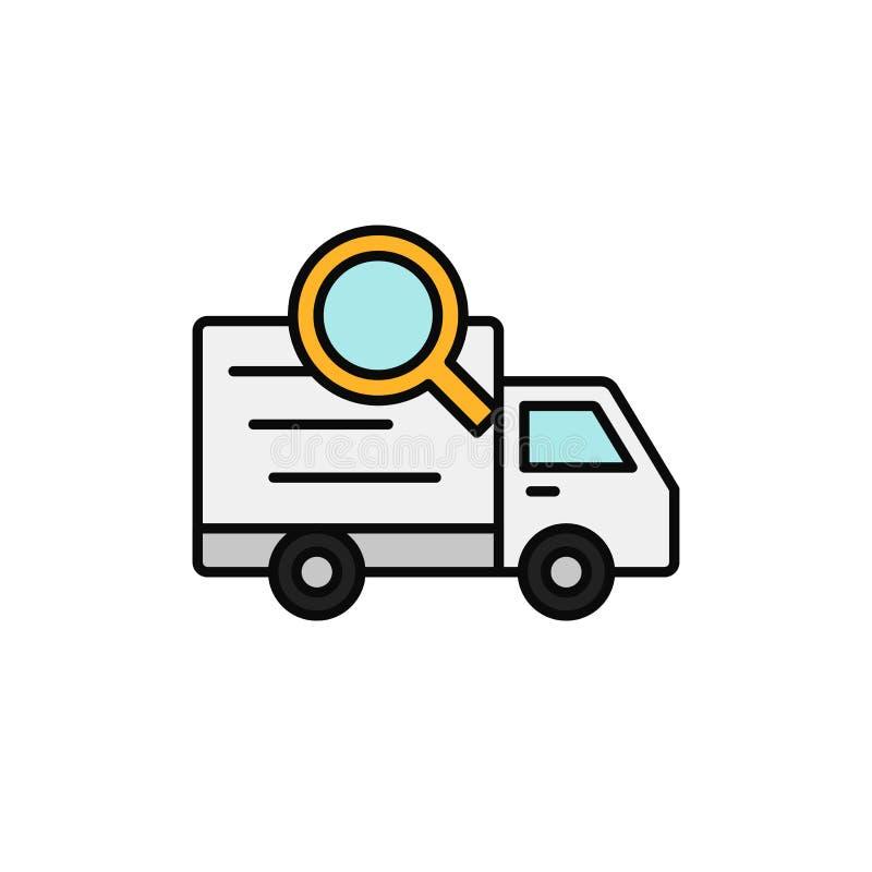 Ícone da busca do caminhão de entrega inventor da expedição, informação da expedição que segue a ilustração projeto simples do sí ilustração royalty free