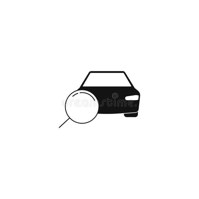 ícone da busca do carro lupa e um carro Conceito da venda do carro Símbolo do vetor ilustração stock