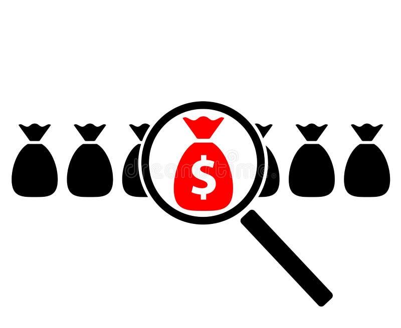 Ícone da busca do lucro ilustração do vetor