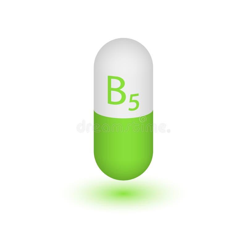 Ícone da cápsula do comprimido da vitamina B5 ilustração do vetor