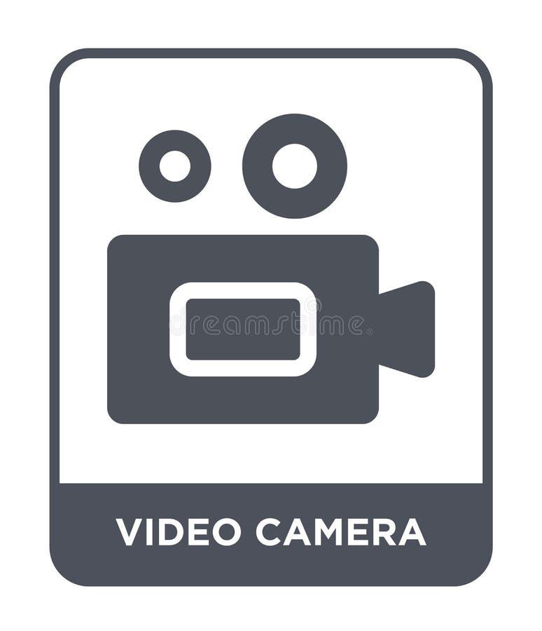 Ícone da câmara de vídeo no estilo na moda do projeto Ícone da câmara de vídeo isolado no fundo branco ícone do vetor da câmara d ilustração do vetor