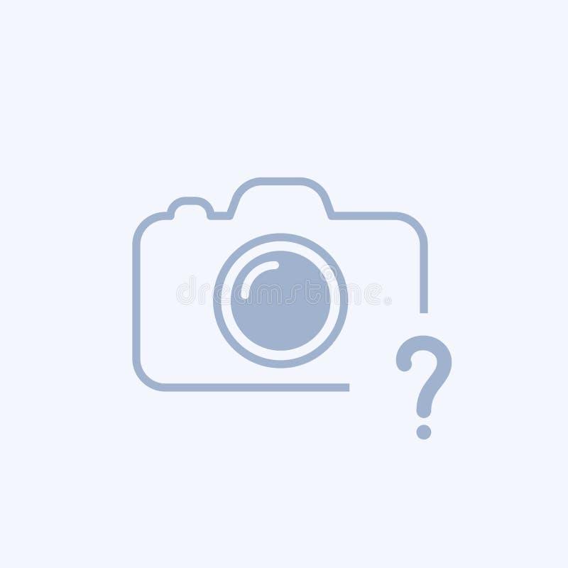Ícone da câmera com ponto de interrogação Ícone e ajuda da câmera, como a, informação, conceito da pergunta ilustração stock