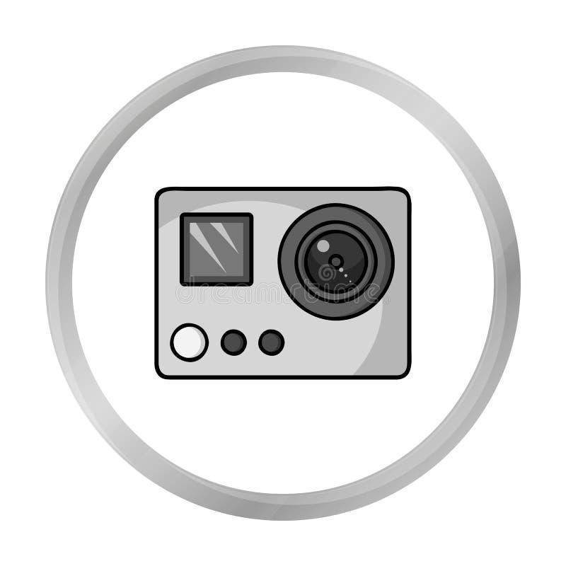 Ícone da câmera da ação no estilo monocromático isolado no branco Símbolo da estância de esqui ilustração stock