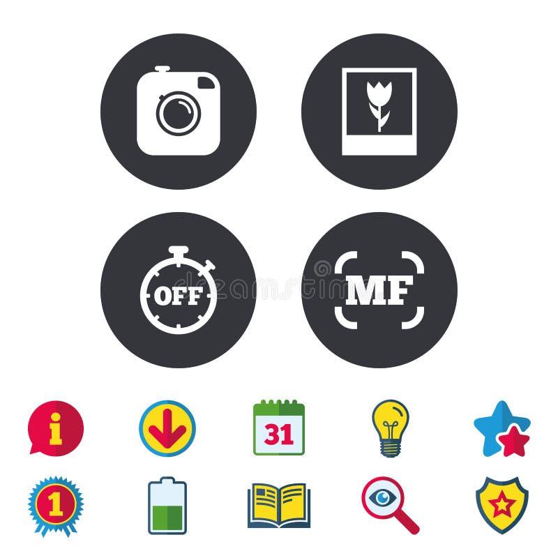 Ícone da câmera da foto Foco e sinais manuais do macro ilustração do vetor