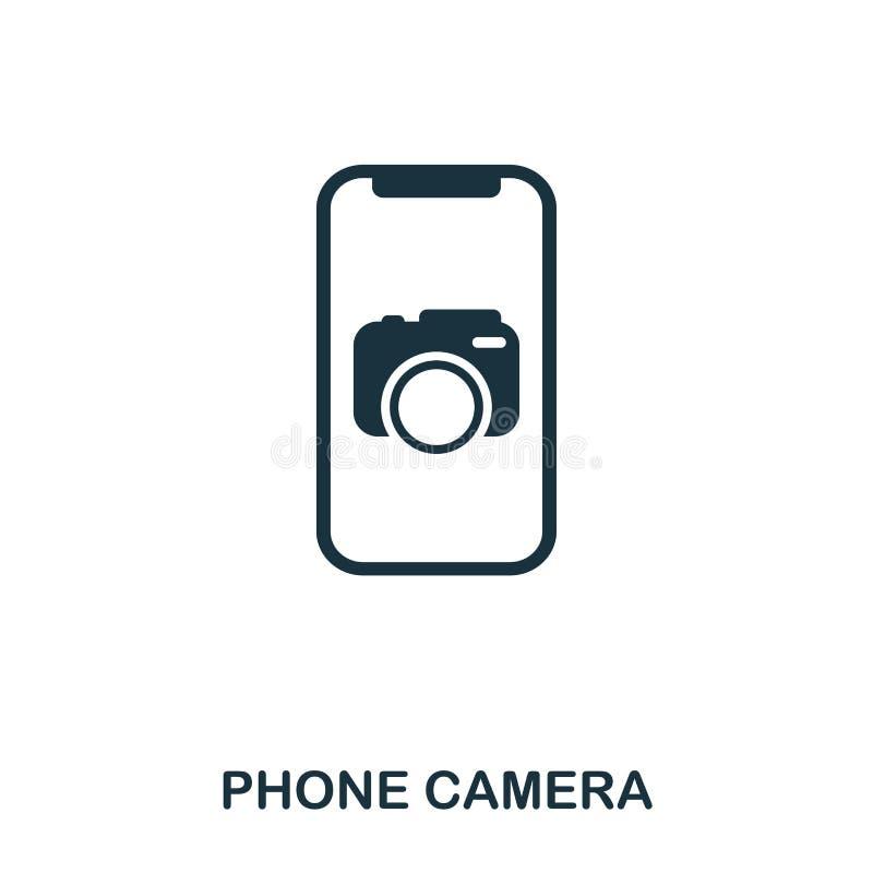 Ícone da câmera do telefone Projeto liso do ícone do estilo Ui Ilustração do ícone da câmera do telefone pictograma isolado no br ilustração stock