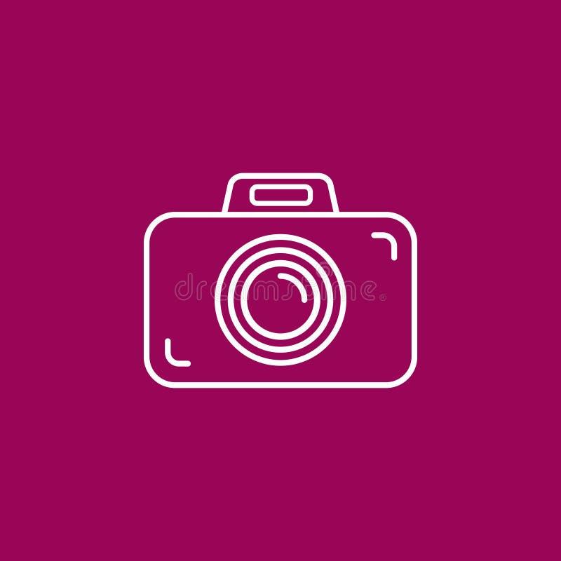Ícone da câmera da foto do esboço fundo roxo/cor-de-rosa carmesim ilustração royalty free