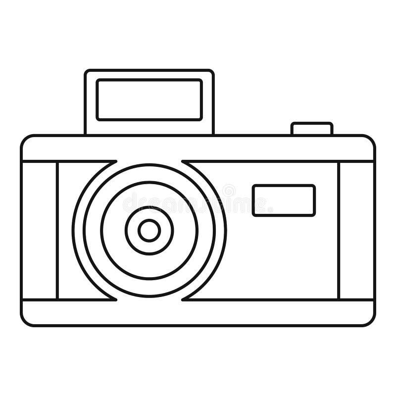 Ícone da câmera da foto do vintage, estilo do esboço ilustração stock