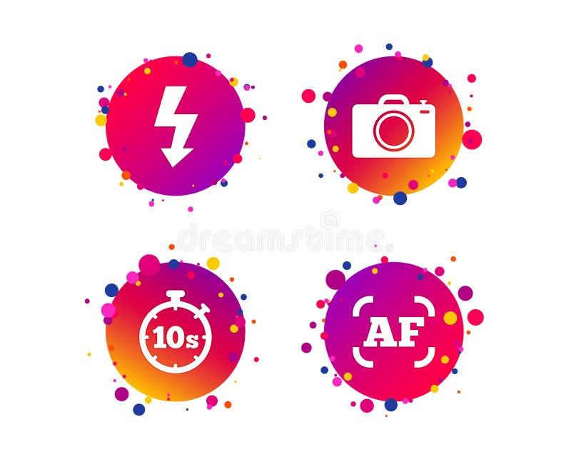 Ícone da câmera da foto Luz e autofocus instantâneos AF Vetor ilustração do vetor