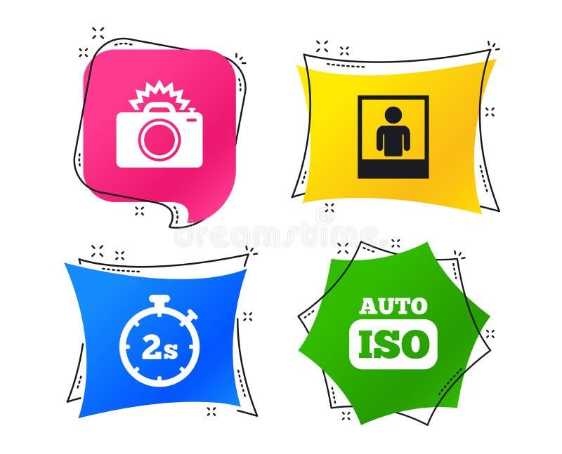 Ícone da câmera da foto Luz instantânea e auto ISO Vetor ilustração do vetor