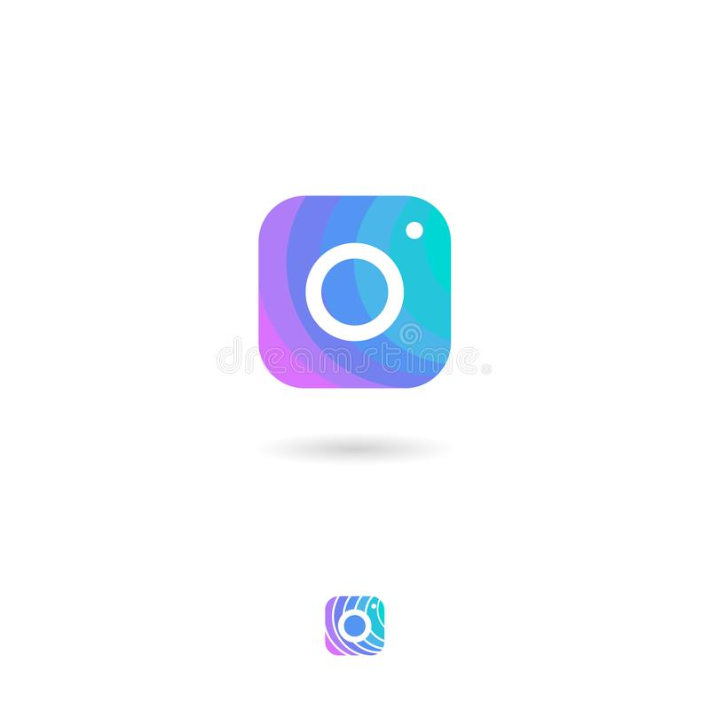 Ícone da câmera, UI Botão da Web Armazenamento da foto ou emblema da biblioteca da foto Ícones da galeria de fotografia ilustração royalty free