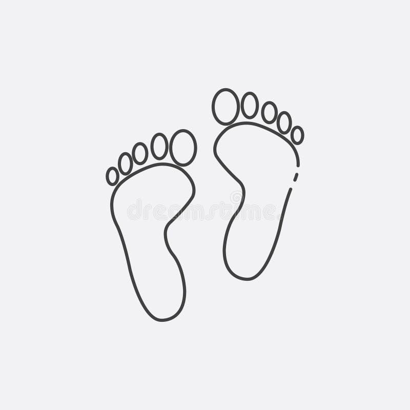 ícone da cópia do pé, ilustração do vetor Linha lisa ícone ilustração stock