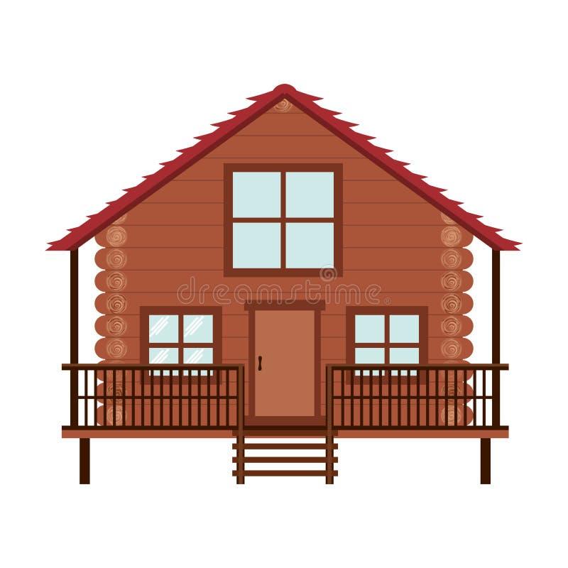 Ícone da cabana rústica de madeira ilustração do vetor