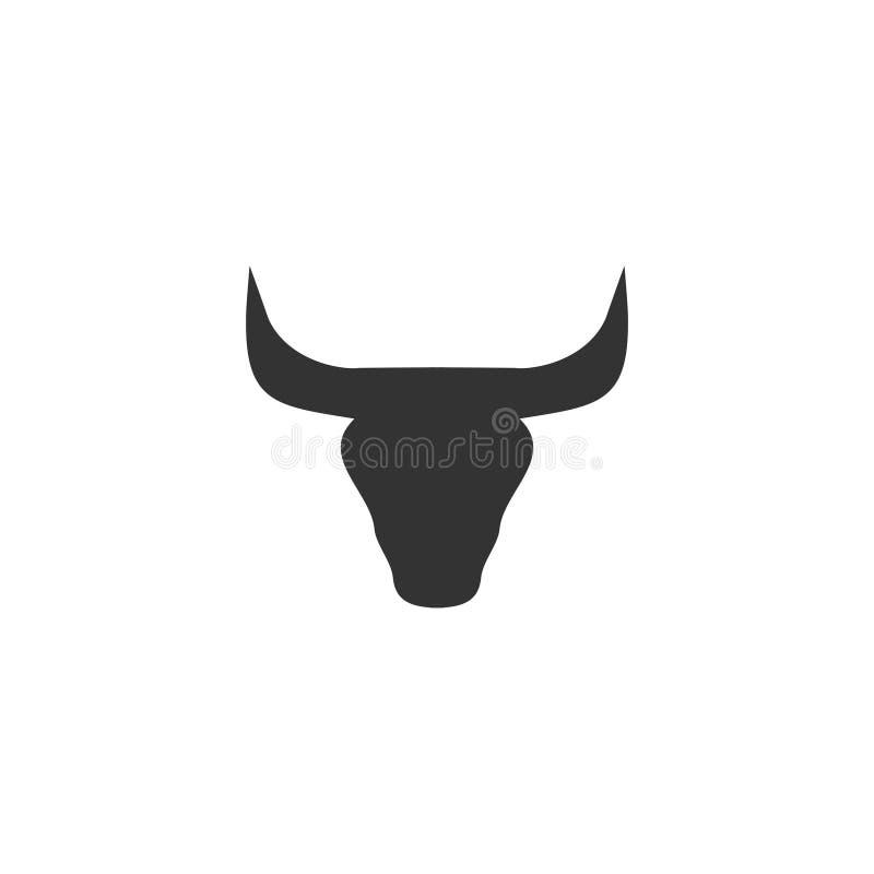 Ícone da cabeça de Bull horizontalmente ilustração stock